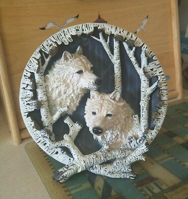 """Vintage Two Wolves With Aspen Trees 3-D Ceramic Plate, 8 Inches X 3 1/2"""" Deep"""