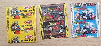 3x Dragon Ball Z Bubble Gum Wrapper Wrapping Papers