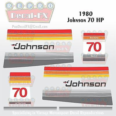 1976 Johnson 70HP Sea-Horse Outboard Repro 8 Pc Marine Vinyl Decals Loop Charged