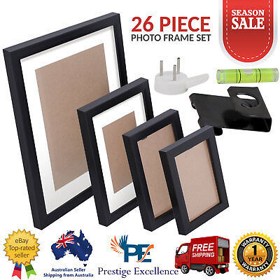 26 Piece Photo Frame Set Collage Wall Picture Frames Black Home Decor Art NEW