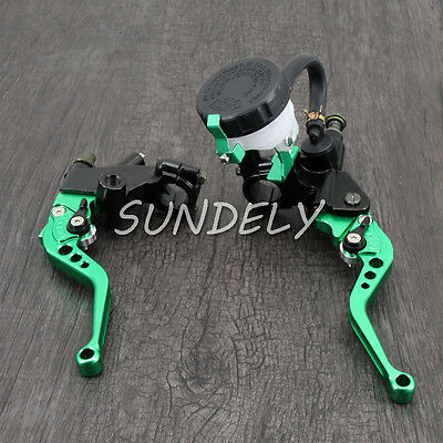 "7/8"" Motorcycle Universal Green Clutch Brake Levers Master Cylinder Reservoir"