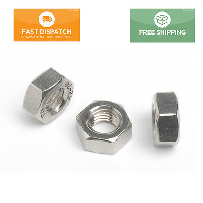 A2 Stainless Steel Pitch Thread Hexagon Full Nuts M2 - M10 DIN 934 All Sizes