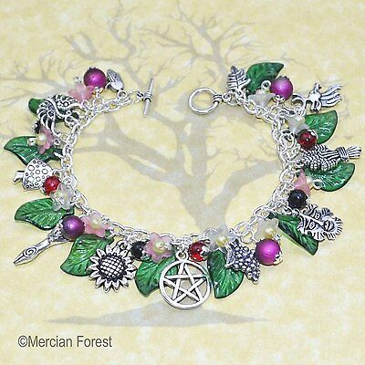 Summers Bounty Goddess and Greenman Pagan Bracelet - Wicca, Solstice Jewellery