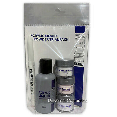 The Edge Acrylic Powder and Liquid Trial Pack primer Pen- GENUINE/FREE DELIVERY