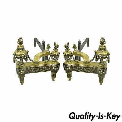 Pair of Antique French Louis XVI Neoclassical Style Urn Flame Brass Andirons