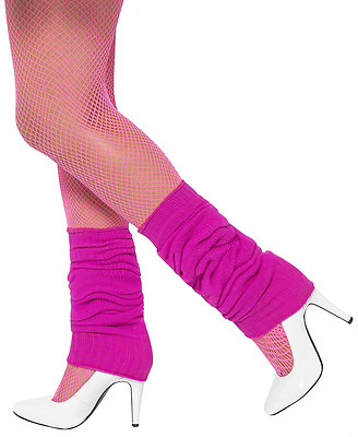 Perfect Leg Warmers For Novelty 80s Themed Costume Women Rib-knit Cuff Hot Pink