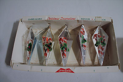 Vintage Jewelbrite Candy Canes Plastic Christmas Ornaments In Box