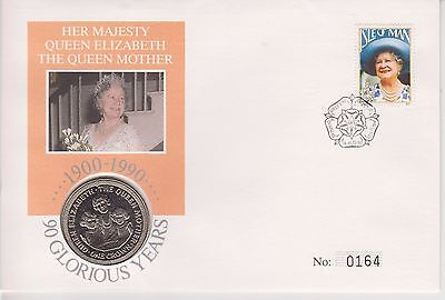 1990 Qeii Fdc Pnc Coin Cover 90Th Birthday The Queen Mother Isle Of Man 1 Crown