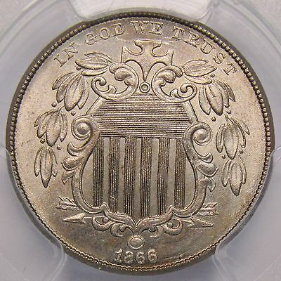 1866 Shield Nickel With Rays PCGS MS-65