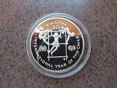 """International Year of the Child"" Zambia Silver Proof 10 Kwacha Coin"