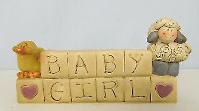 Baby Girl - New resin block with lamb and duck on top - by Blossom Bucket #2624