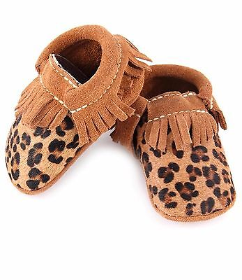 First Steps baby moccasin with hair on calf leopard