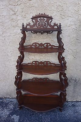 "Walnut Victorian Antique What Not Shelf 67"" H X 42"" W X 14 1/2"" D"