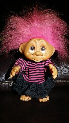 1980'S Dam Punk Troll with Pink Hair dressed in a striped top & black pants
