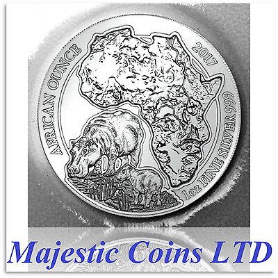 2017 Rwanda Hippo 50 Francs 1 Oz Coin .999 Silver Map of Africa Mint Blister