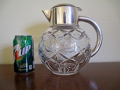 Vintage Crystal Coffee Carafe with Silverplate Top & Handle
