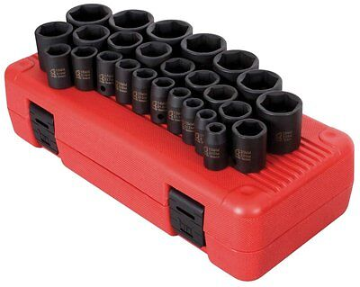 Sunex 2645 1/2-Inch Drive Metric Impact Socket Set, 26-Piece