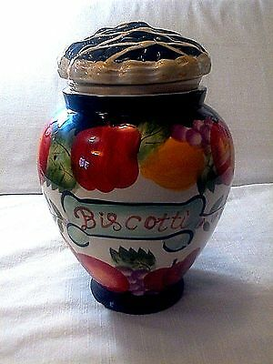 Hand Painted For Nonni's Biscotti Cookie Jar Jelly Belly Candy Container Lid