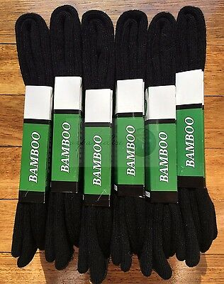 6 Pairs SIZE 6-11 98% BAMBOO SOCKS Men Heavy Duty Premium Thick Work Socks BLACK
