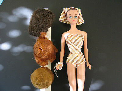 Vintage Barbie Fashion Queen #870 Gold Lame  Swuimsuit / 3 Wigs and Wig Stand