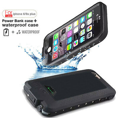 Waterproof Power Case External Backup Battery Charger Cover For iPhone 6 6S Plus