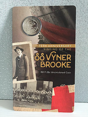 Brand New Uncirculated Royal Australian Mint 2017 SS Vyner Brooke 20 Cent Coin