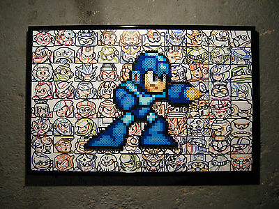 Framed Mega Man Perler Art