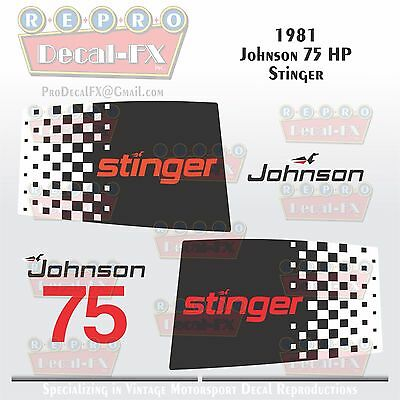 1981 Johnson 75 HP Stinger Outboard Reproduction 9 Piece Vinyl Marine Decals