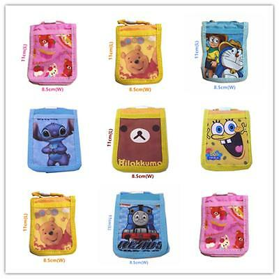 1x Cute Cartoon ID Card Holder Carrying Case Neck Strap Zipper Coin Wallet Child