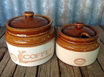 VINTAGE Heritage BENDIGO POTTERY Coffee & Sugar CANISTERS Australian COUNTRY