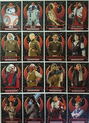 Star Wars FORCE AWAKENS SERIES 2 HEROES OF THE RESISTANCE Set of 16  topps 2016
