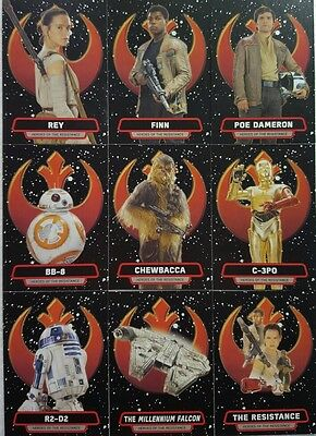 """JOURNEY to Star Wars FORCE AWAKENS  """" Heroes of The Resistance  """" CARD Set of 9"""