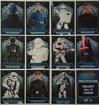 Star Wars FORCE AWAKENS SERIES 2 POWER OF THE FIRST ORDER  Card Set of 11  2016