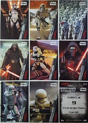 Star Wars FORCE AWAKENS SERIES 1 THE FIRST ORDER RISES Card Set of 9 topps 2015