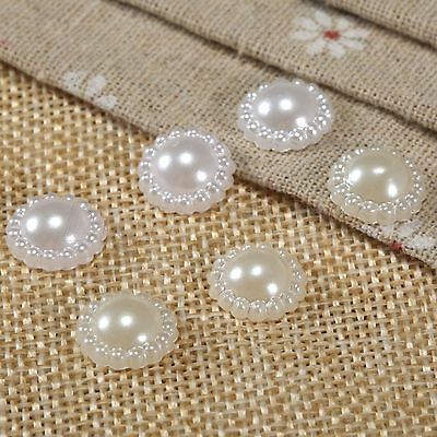 50PCS 13MM Half Round Flat Back Bead Sunflower Pearls Card Decoration Craft DIY