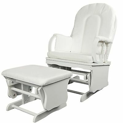Baby Breast Feeding Sliding Glider Chair with Ottoman White Nursing Aid Wooden