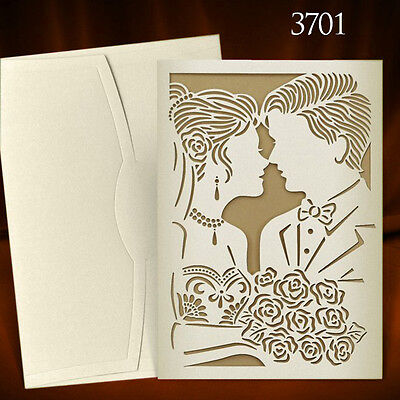 Wedding Invitations Laces Laser Cut Embossed Floral Personalised Free P*P