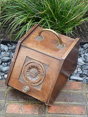 Antique Wooden Coal Log Scuttle Box Holder with Removable Liner