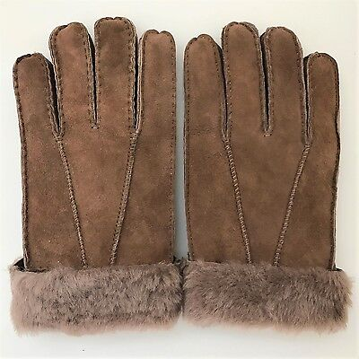 Shearling Leather Sheepskin Gloves Fur Warm Lined Winter Brown Skiing Cuff