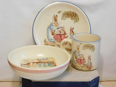 MRS RABBIT & FAMILY ~ Childrens Trio Of Mug, Plate, & Bowl ~ Transfer Printed ~