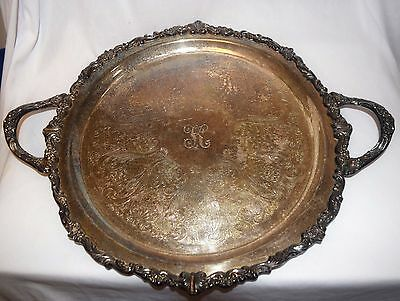 Antique SHERIDAN Silverplated Two Handled Round Serving Tray Ornate Boarder 13""