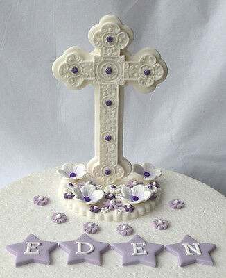 Edible large upright standing cross Holy Communion cake topper (lilac )