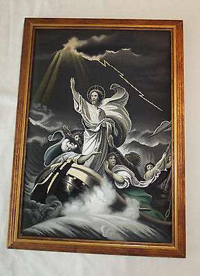 Stevengraph Silk Tapestry Jesus Calms the Waters Balze Gilded Wood Frame ExFine