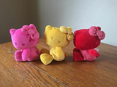 Hello Kitty Sanrio Plush 35th Anniversary Pink Yellow And Red Colors Trio