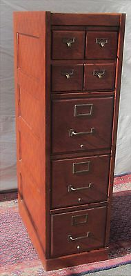 Antique Arts & Craft Oak Raised Panel File Cabinet With 4 Over 3 Drawer Format