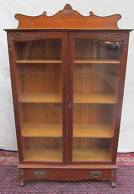 19Th Ct Victorian Oak Bookcase With Double Glass Doors & Carved Top Gallery