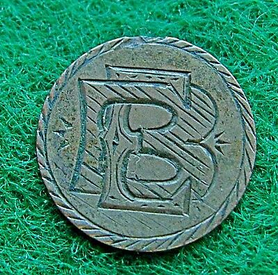 """Three cent 3c silver love token, engraved """"BE"""" """"EB"""""""