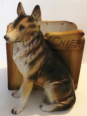 Nice Ceramic German Shepherd Chief Dog Planter 7215
