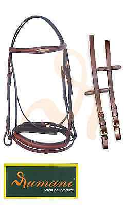 Rumani Brand Quality Drum Dyed Leather Bridle With Raised Noseband And Browband