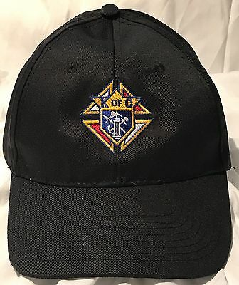 Knights of Columbus Black Hat -Cap  with Embroidered Logo  Polyester Adjustable